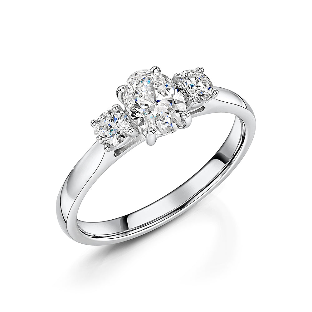 Oval & Brilliant Cut Diamond Three Stone Ring In 18ct White Gold 1.00ct