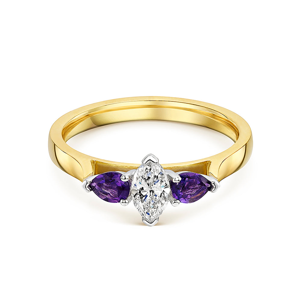 Marquise Diamond & Pear Shaped Amethyst 3 Stone Ring