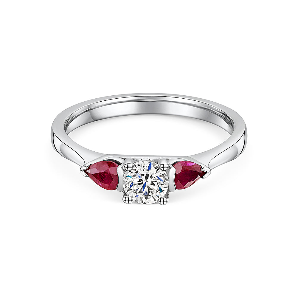 Diamond & Ruby 3 Stone Ring In 18ct White Gold