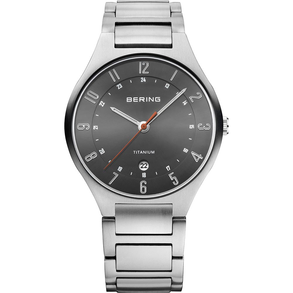 Bering Gents Titanium Brushed Silver Watch