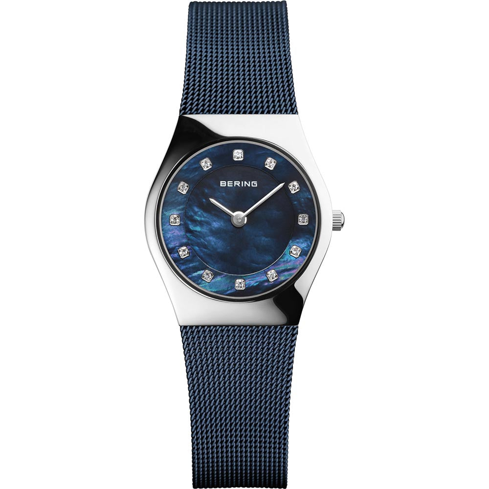 Bering Ladies Blue Colour Stainless Steel Crystal Watch