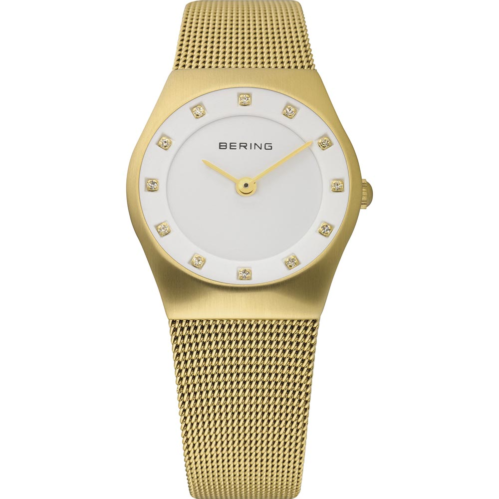 Bering Ladies Gold Colour Stainless Steel Crystal Watch