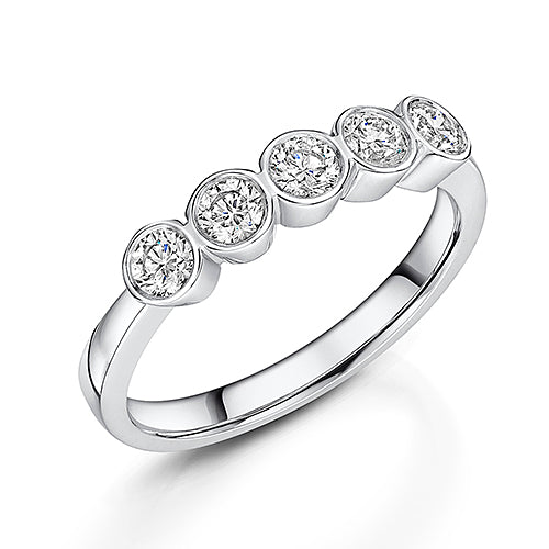 Platinum Brilliant Cut Rub Over Diamond Eternity Ring 0.57cts
