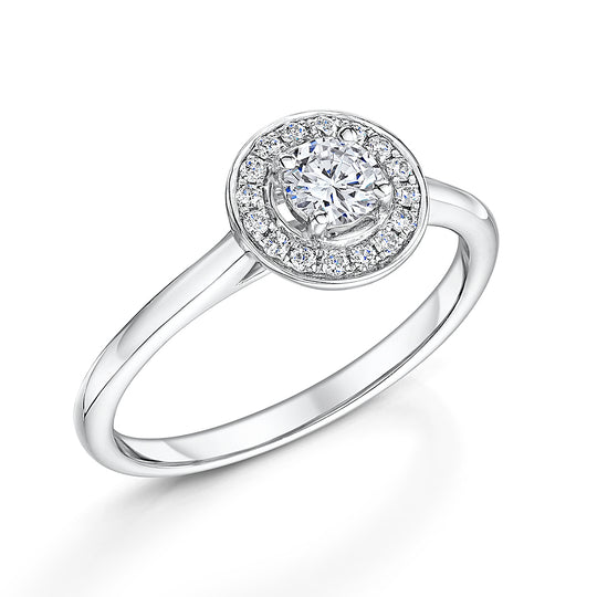 18ct White Gold Halo Engagement Ring F Colour 0.33ct
