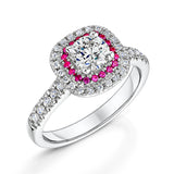Ruby & Diamond Halo Style Two Tier Cluster Ring 1.02cts