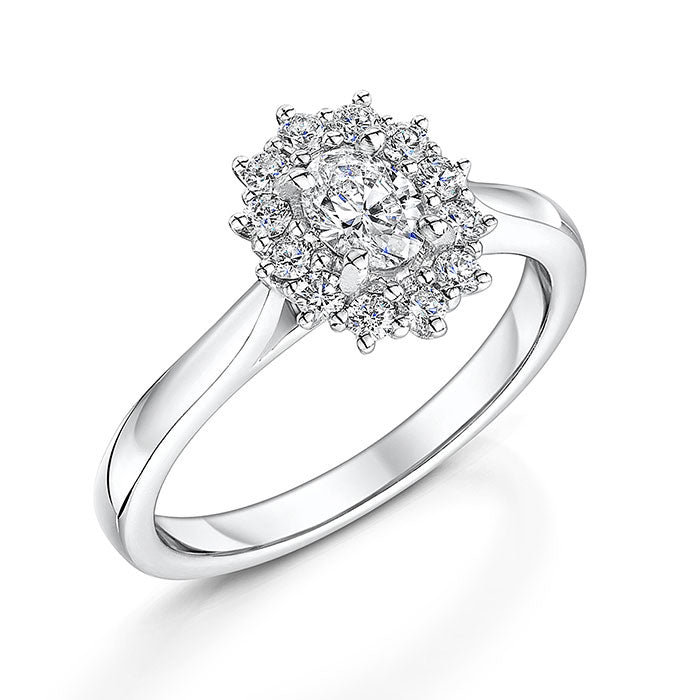 Claw Set Oval Cut Diamond Ring 0.60cts