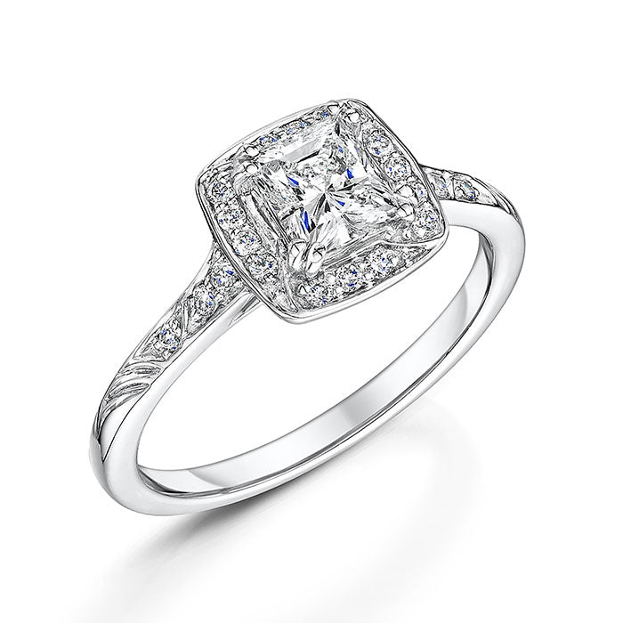 Princess Cut Diamond Halo Cluster Ring 0.84cts