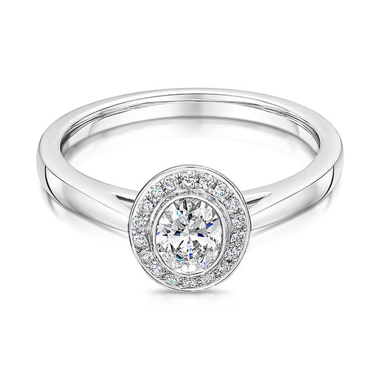 D Colour Oval Cut Halo Style Diamond Ring 0.48cts