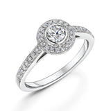Elegant Halo Style Cluster Ring With Diamond Shoulders 0.60cts