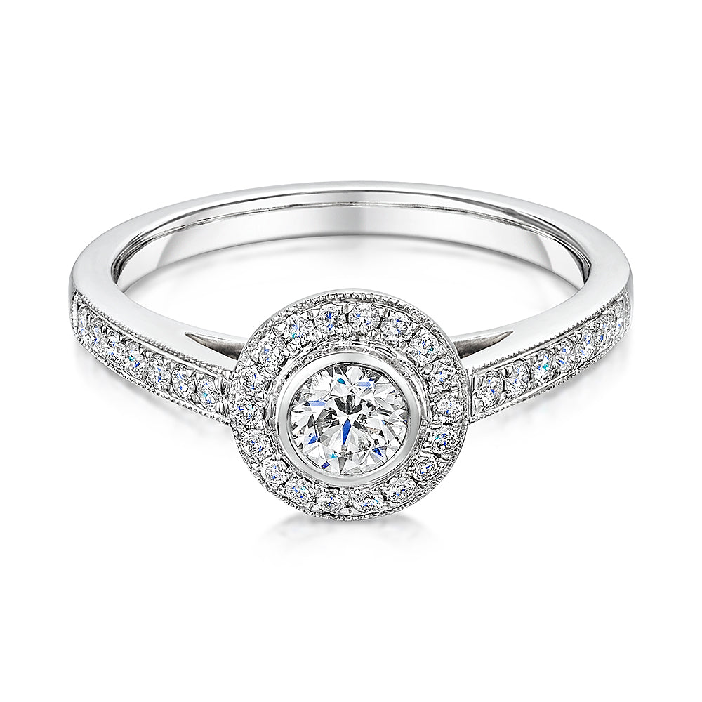 Elegant Halo style cluster ring with diamond shoulders