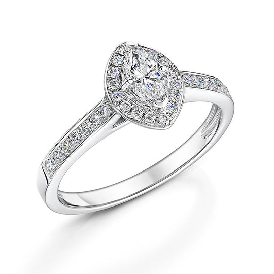 Marquise Halo Style Diamond Ring 0.67cts