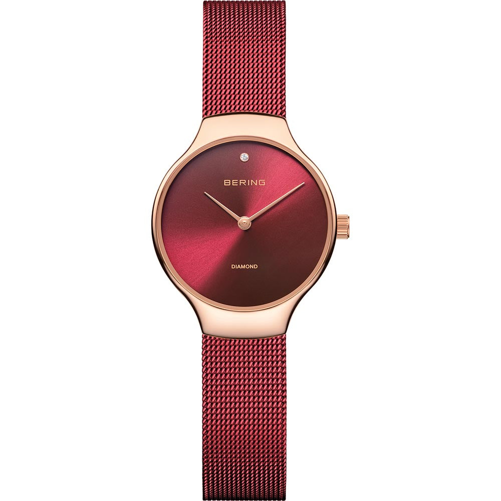 Bering Ladies Stainless Steel Red Charity Watch