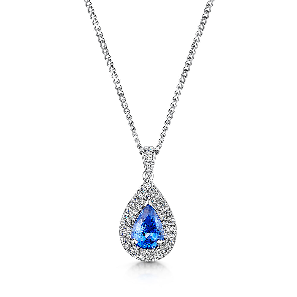 18ct Pear shaped sapphire and diamond pendant and chain
