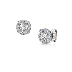 18ct white gold 0.75ct brilliant cut diamond cluster earrings