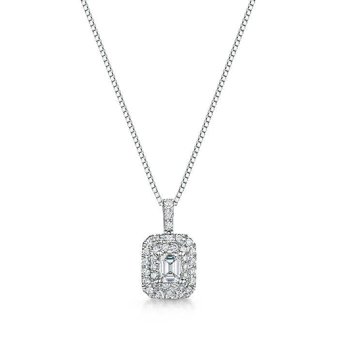Emerald cut white gold diamond pendant