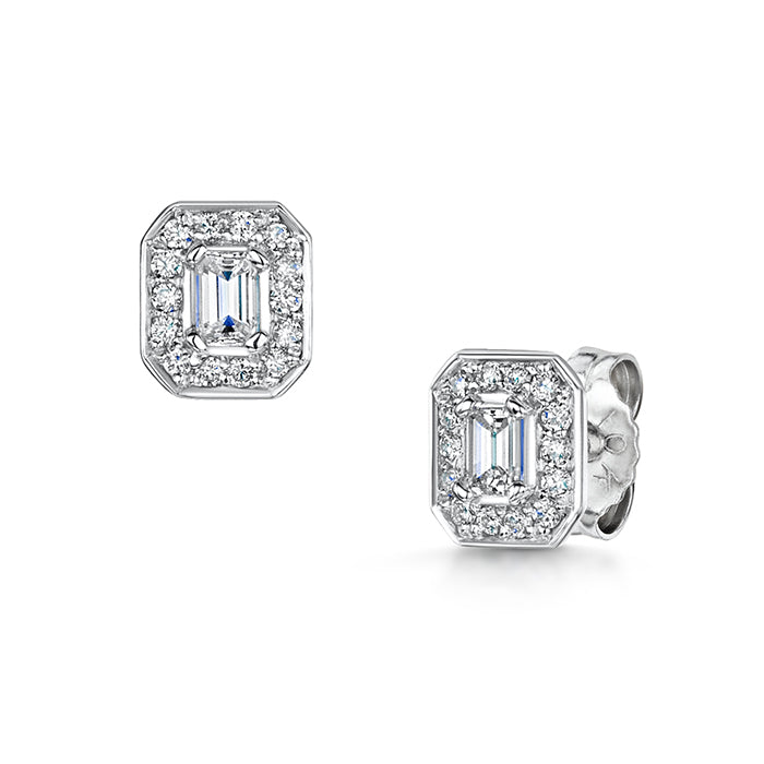 0.35ct emerald cut diamond earrings