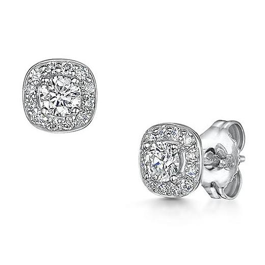 Brilliant cut diamond earrings with rub over setting