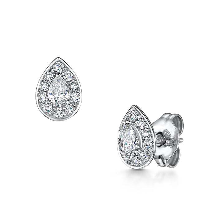 Pair of rub over diamond studs