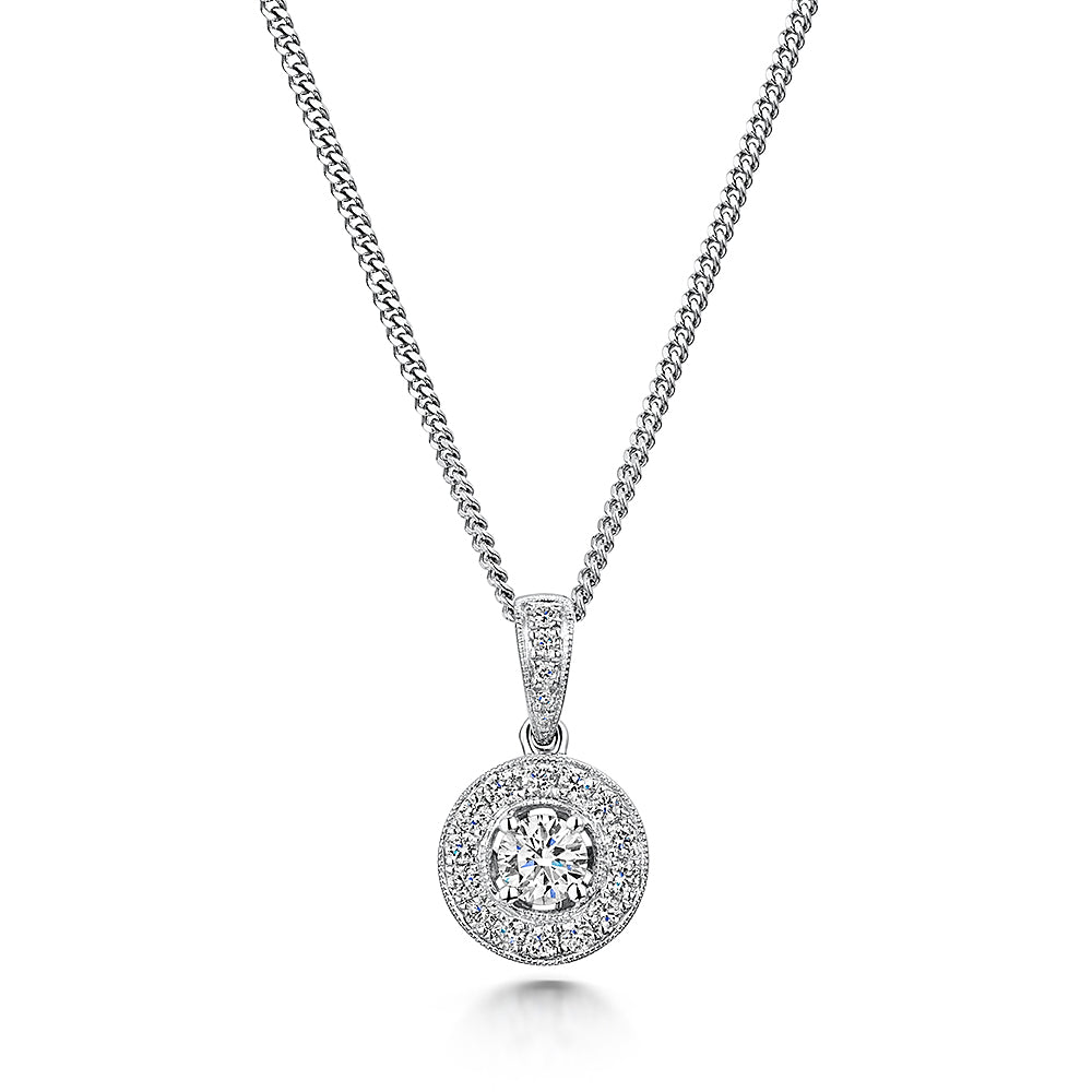 Platinum Diamond Halo Pendant & Chain 0.63cts