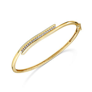 Yellow Gold Swirl Diamond Bangle 0.33cts