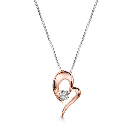 Rose Gold Heart Shape Diamond Pendant