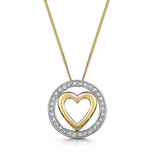 Yellow & White Gold Heart Shape Diamond Pendant