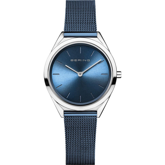 Bering Ladies Stainless Steel Blue Crystal Watch