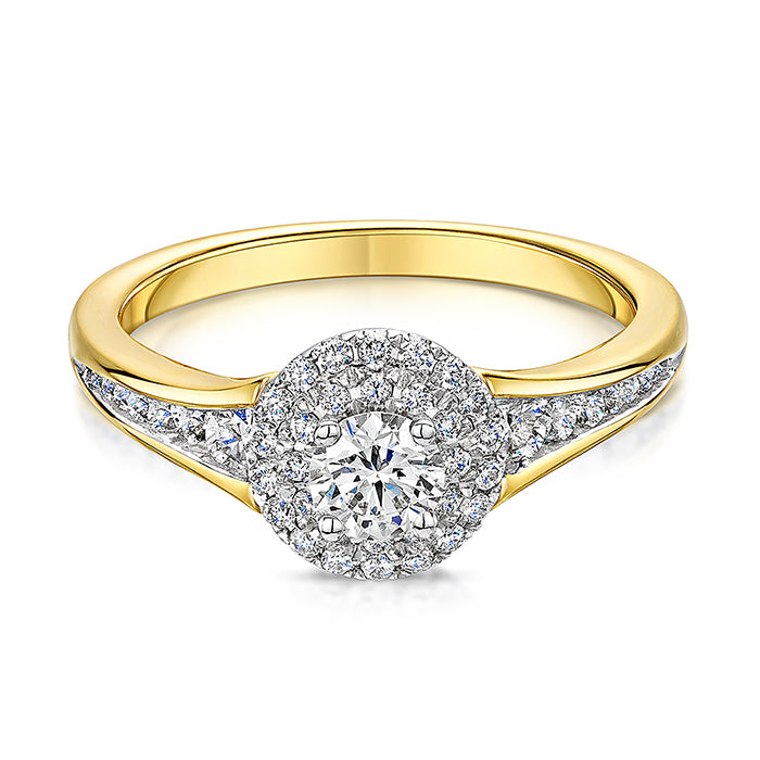 18ct gold two row diamond cluster ring
