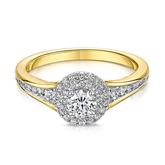 18ct Gold Two Tier Diamond Cluster Ring 0.70cts