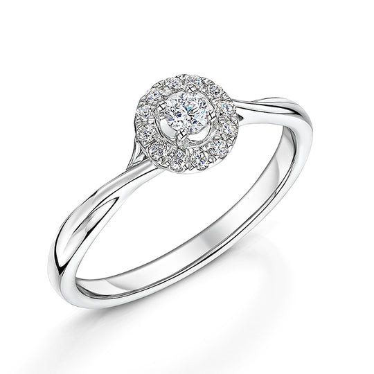 White Gold Twist Style Diamond Ring 0.20cts
