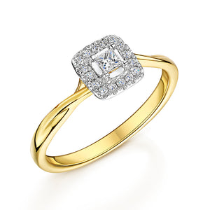 9ct Yellow Gold Princess Cut Halo Cluster Ring 0.20cts