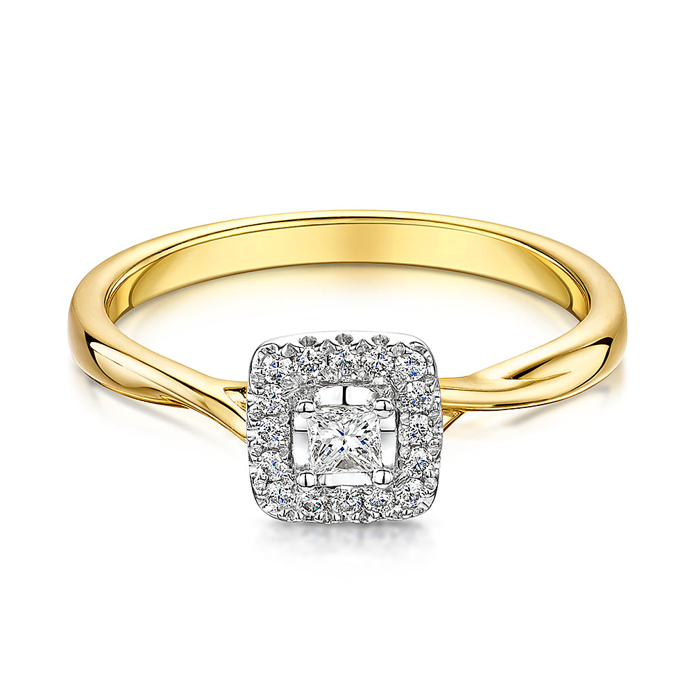 9ct Yellow gold square cut halo cluster ring