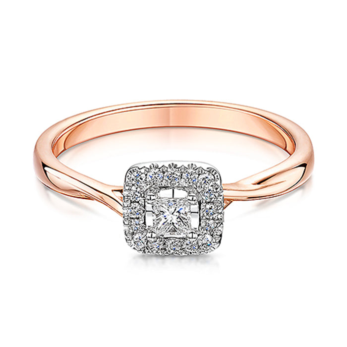 Rose Gold Halo Style Diamond Ring 0.20cts