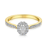 Oval shape Halo style cluster with diamond shoulders