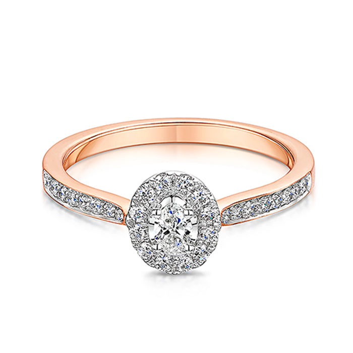 Rose Gold Diamond Halo Style Ring 0.30cts