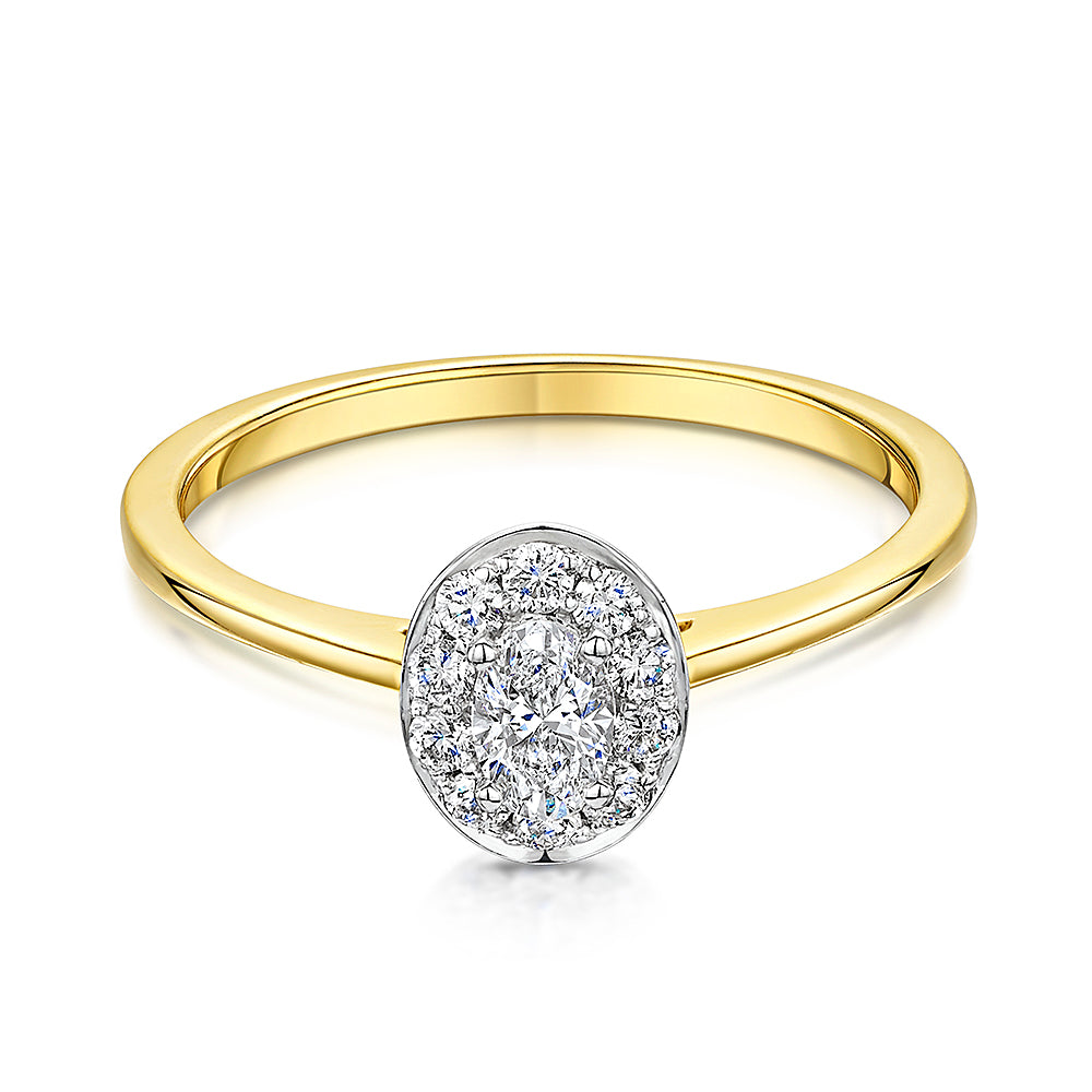 Oval Cut Yellow Gold Halo Style Diamond Ring  0.35cts