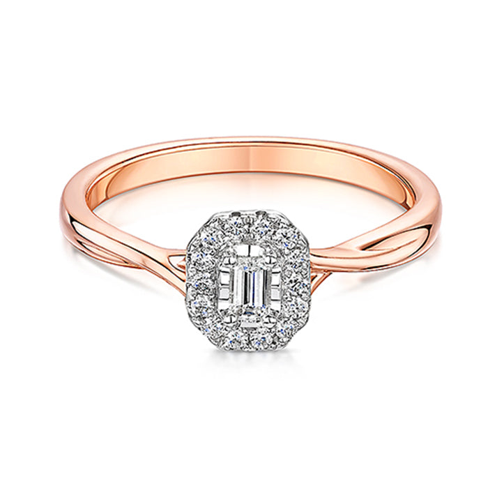 Elegant Rose Gold Diamond Cluster Ring 0.20cts
