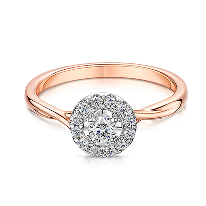 Rose Gold Halo Style Diamond Ring 0.30cts