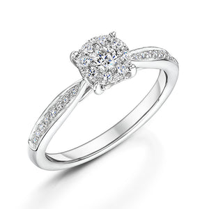 Brilliant Cut Diamond Halo Style Ring With Diamond Shoulders