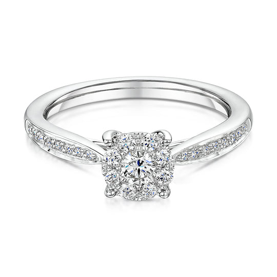 Brilliant Cut Diamond Halo Style Ring With Diamond Shoulders 0.36cts