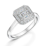 An Antique Style Diamond Cluster Ring In 9ct White Gold 0.36cts