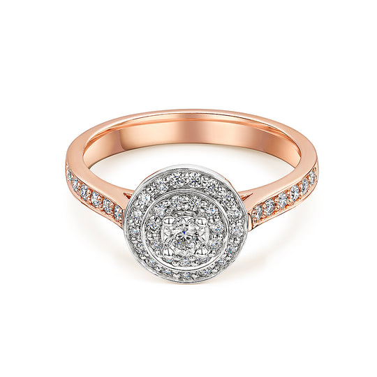 Two Tier Rose Gold Brilliant Cut Diamond Ring 0.36cts