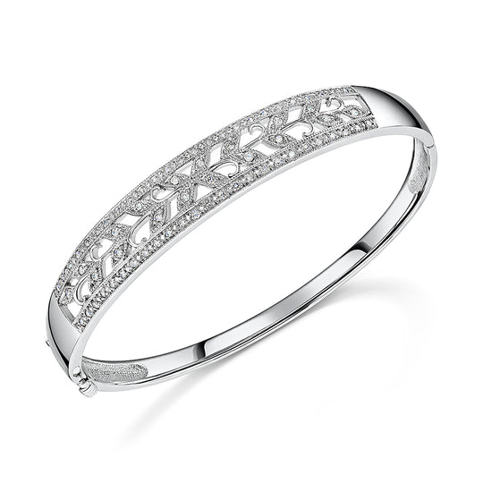 Floral White Gold Diamond Bangle 0.56cts