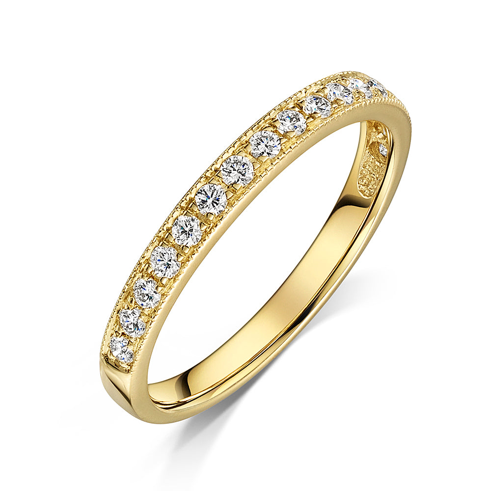 9ct Yellow Gold Grain Set Diamond Eternity Ring 0.25cts