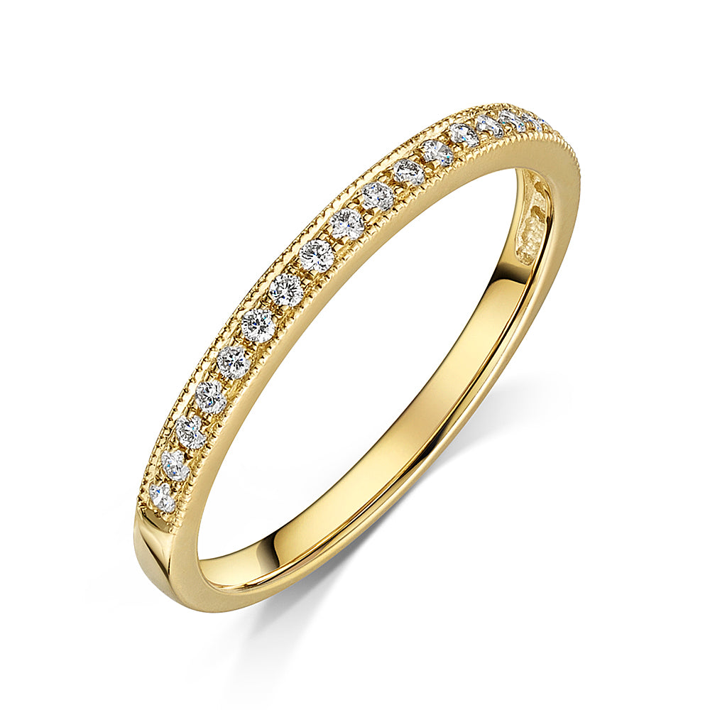 9ct Yellow Gold Grain Set Diamond Eternity Ring 0.15cts