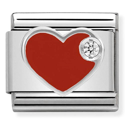 Nomination Red Enamel CZ Heart Charm