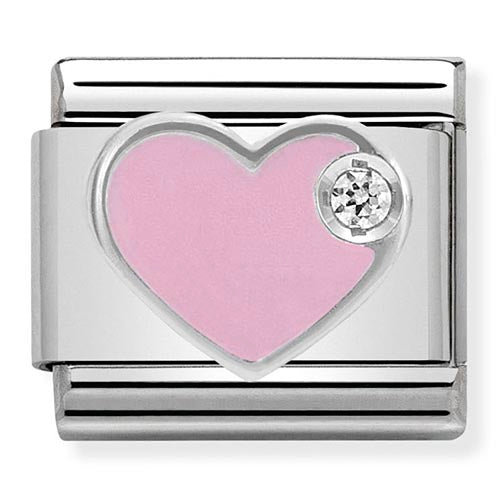 Nomination Pink Enamel CZ Heart Charm