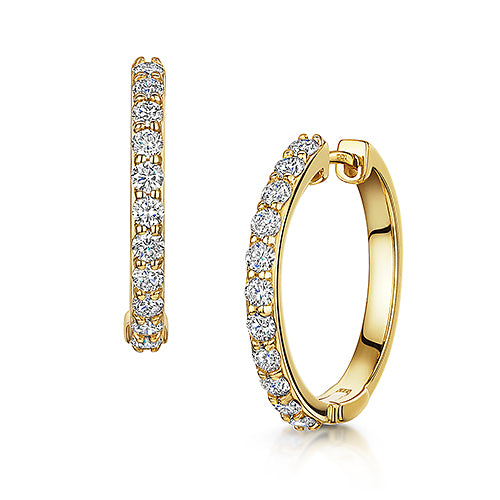 Yellow Gold Diamond Hoop Earrings 1.00ct