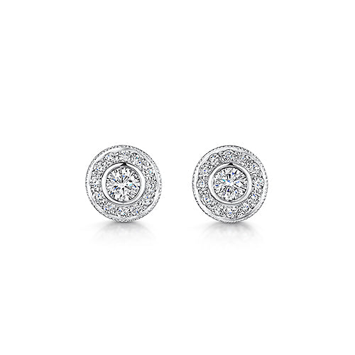 Halo Style Stud Earrings 0.50cts