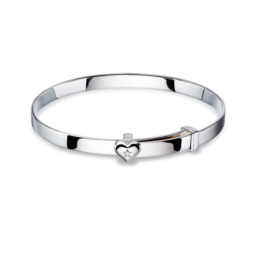 Diamond Heart Sterling Silver Baby Bangle